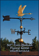"Whitehall Goose Flying 30"" Full-Bodied Weathervane &Rooftop Mount in Gold-Bronze"