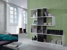 Large Black White Gloss Zig Zag Bookcase Room Divider Shelf Shelving Display