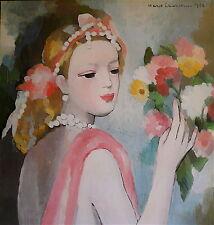 Marie Laurencin Affiche offset Galerie expo Paris Jeune femme au bouquet