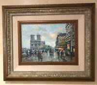 Cityscape, Antique Original oil Painting by Antoine Blanchard, Handmade Artwork