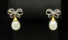 10K Yellow Gold White Pearl and 1/3 tcw Diamonds Drop Earrings Y204