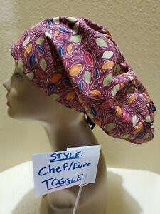 Fall Leaves (burgandy) Women's  Euro/Chef Surgical Scrub Hat/Cap Handmade