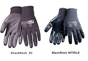 BlackRock High Quality Nitrile PU coated Work Gloves Builders Grip Gardening