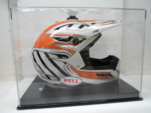 Motocross racing helmet acrylic display case 85% UV filtering solid black base