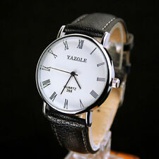 Men`s Business Sports Silver Yazole Quartz White Faced Black Band Wrist Watch.