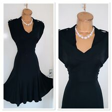 KAREN MILLEN Black Fit & Flare Jersey Dress Uk Size 10-12