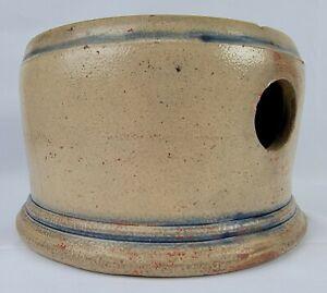 "Rare Antique Primitive Stoneware ""Top Hat"" Spitoon Cobalt Accents Mid 1800's"