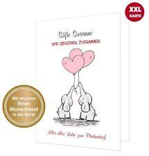romantische XXL große Klappkarte Elefanten Liebe Herz, mit Umschlag TEXT ÄNDERN