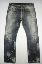 True Religion Men's Ricky Relaxed Straight Destroyed Gray Flap Pocket Size 36x34
