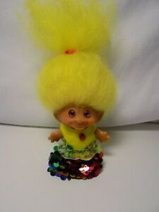 "Dam '60's c-64 troll, pink eyes and massive yellow hair, 2 1/2"" new party dress"