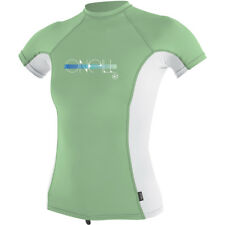 O'Neill Skins S/S Girls UV Sun Protection Rash Crew, Mint/White