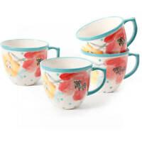 PIONEER WOMAN 16oz Coffee Cup Mugs 4pc Vintage Bloom Stoneware Kitchen Drinkware