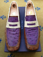 Prada Men's Shoes Brown Purple Cream Leather Ostrich Loafers UK 9.5 US 10.5 43.5