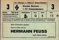Ticket DFB-Pokal 81/82 SV Werder Bremen - 1. FC Kaiserslautern