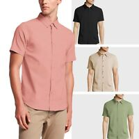 Mens DRESS SHIRTS Solid SHORT SLEEVE Button Down Casual Suit S 2X Shirt Tee