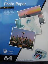 Photo Paper- Canvas Matt Gloss Inkjet Printer Great Qualiity: 12 Sheets Matt A4