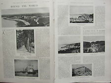 1902 PRINT ~ ROUND THE WORLD FALMOUTH ~ HARBOUR ST MAWES ROPE WALK HOTEL MUNICH