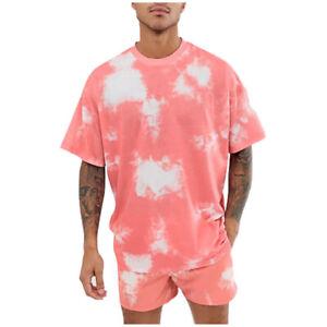 Men's Summer Outfit Tie Dye 2 Pieces Sweatsuit Shorts Set Loungewear Casual Set