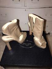 Prada Beige Cutout Open Heels Shine 2 Giunco Zippered $750 7B