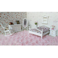 1:12 Scale Dollhouse Bedroom Furniture White Wooden Bed Dresser Mirror Chair