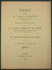TOAST PORTE PAR F. DEBRAND A L'OCCASION DU … MARIAGE DE BIDAULT DE L'ISLE 1923