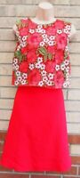 LOVEDROBE RED FLORAL EMBROIDERED CROCHET LACE LAYER A LINE SKATER DRESS 18
