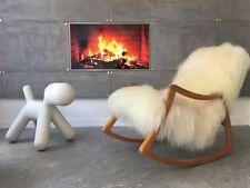 Vintage Design Art Deco Sheepskin Fluffy Bentwood Rocking Chair by Ton 1960th