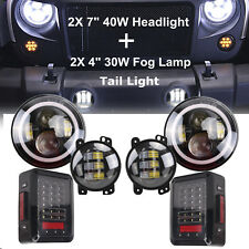 "7"" 40W Round LED Headlight+ 4"" 30W Fog Lamp+ Tail Light Kit For Jeep Wrangler JK"