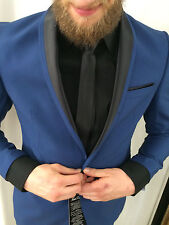 Diseñador De Fumar Azul Negro Entallado En Conjunto montaje Camisa Corbata Talla
