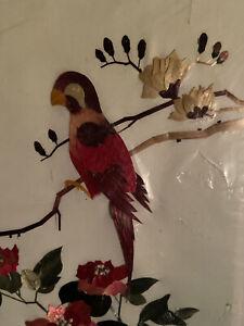 VTG Bird Wheat Stalk Silk Hand Cut Picture Asian Art Parakeet Flower Japan NEW