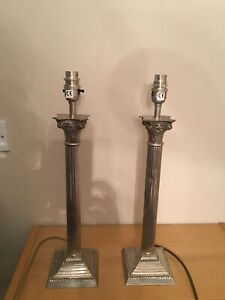 VINTAGE SILVER PILLARED COLUMN TABLE LAMPS X2