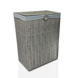 Resin Laundry Clothes Basket with Lid, Lock, Lining, Storage Hamper (Grey)