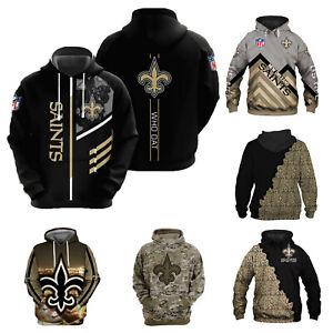 New Orleans Saints Football Hoodie Pullover Hooded Sweatshirt Mens Casual Jacket