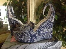 Jeffrey Campbell Navy/White Floral Wedge Platform Sandals EU40/9M MSRP$160