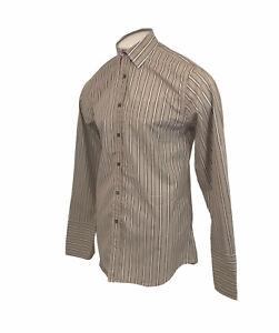 Paul Smith 'Make Love Not War' Brown Striped Shirt Sz 15.5 / 39 Large Mens