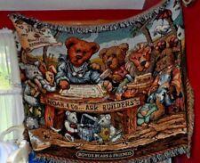 """Boyds Bear Teddy Bear Noah & Co.Ark builders throw tapestry blanket  51"""" x 72"""""""