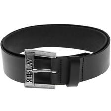 REPLAY Leather Belt JANE Wide Smooth Black Size 95 Logo Prong-Buckle Belts BNWT