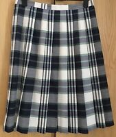 Vintage St Michael Skirt Size 18 Std Pleated Navy Blue White Green Country Look