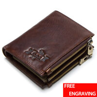Men Genuine Leather Wallet ID Credit Card Holder Bifold Pocket Zipper Coin Purse
