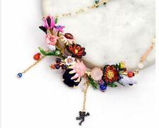 Les Nereides MONET Winter Giverny Flower Enamel Faceted Crystal 14K GP Necklace