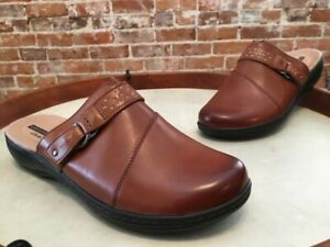 Clarks Tan Brown Leather Leisa Sadie Lightweight Mule Clogs 8 W New