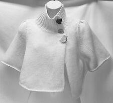 ANTHRO MOTH Beige Cape Shrug Caplet  Button Closer Wool Alpaca Sz Small