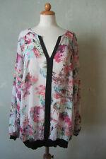 MS Mode Bluse Shirt langarm Blumendruck bunt lang schick Größe 52 (T97) *