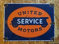 United Motors Porcelain Sign Gas Motor Oil service station car truck automobile