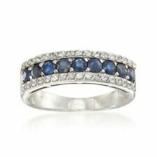 Blue Sapphire and Diamond 14kt White Gold Ring