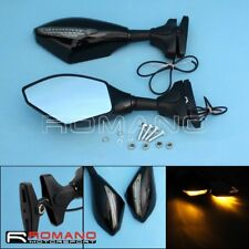 Racing Bike Motorcycle Black Side Rearview Mirror With LED Turn Signal Indicator