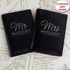 PERSONALISED Mr & Mrs PASSPORT Holders / Covers Set. Leather His & Hers Couple