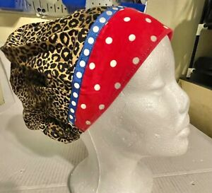 Red and Leopard Animal Print Scrub Cap Bouffant Medical Surgery Hat