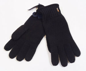 Polo Ralph Lauren Black Merino Wool Sheep Suede Leather Pony Gloves One Size