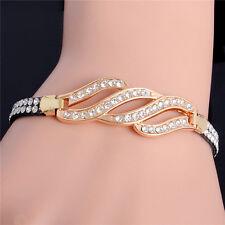 18k Gold Plated Crystal Rhinestone Handmade Cuff Leather Bangle Bracelet Jewelry